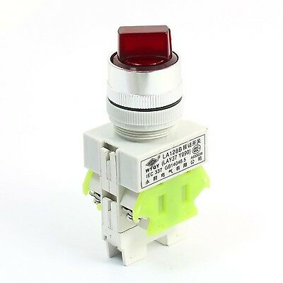 660V 10A 3 Selector Position Red Lamp Self-locking DPST Rotary Switch