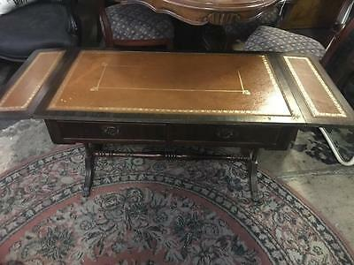 Regency Style 2 Drawer Dropside Coffee Table With Leather Top On Twin Pedestals