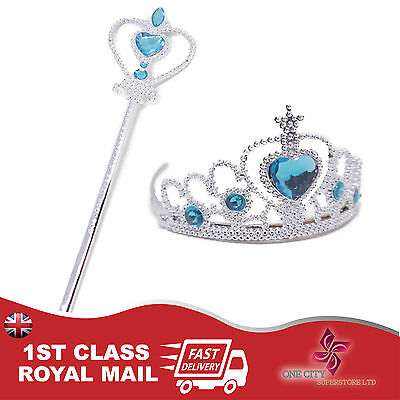 New Frozen Princess Queen Elsa Anna Wand & Tiara Crown Girl Costume 2 Piece Set