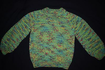 Green Child's knitted jumper, size 2 - 3 - handmade