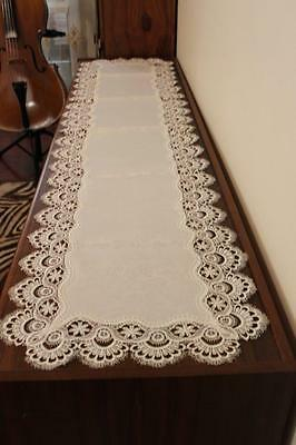 Elegantly embroider top quality table runner 4 table furniture piano beige ivory