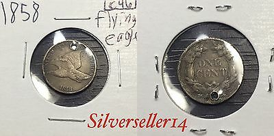 1858 VF/F Flying Cent Nice Condition With Hole #C46