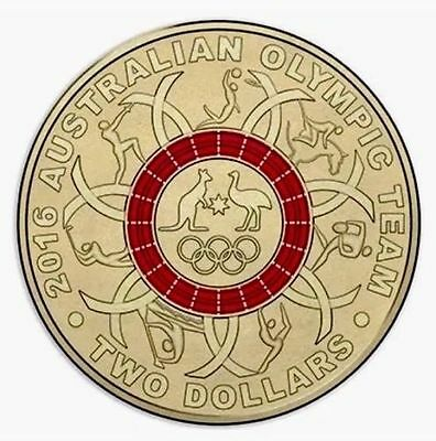 Australian Two Dollar $2 coin - 2016 - Rio Olympic Games - RED - RAM Mint Bag