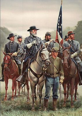 General Robert E. Lee & Staff, The Enemy Is There -- Military Civil War Postcard