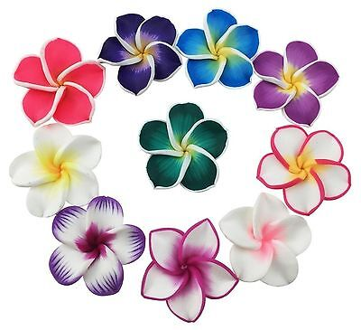 50 Pcs 35mm Mixed Color Polymer Clay Flower Beads Floral Bead Hawaiian Lei Pl...