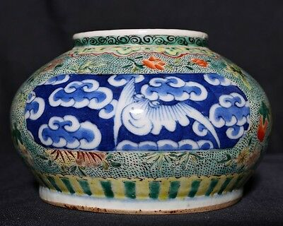 Extraordinary Rare Antique Chinese Polychrome Porcelain Brush Washer Pot FA387