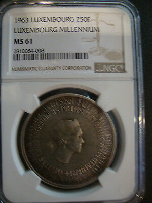 Luxembourg 1963 250 Franc Millennium NGC MS61