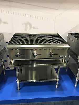"New 36"" Lava Rock Char Broiler With Stainless Equipment Stand Package Deal Gas"