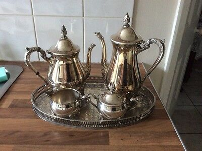 Vintage silver plated tea set and silver plated chased tea tray by Viners