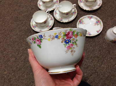 1940's Tuscan Fine Bone China Setting 6 Cups, Saucers, Plates, S Bowl & Creamer