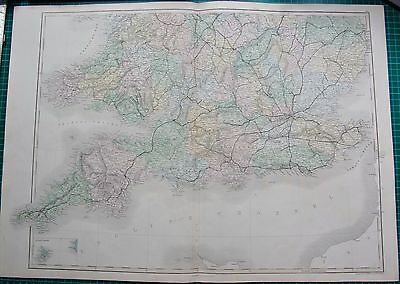 1850 Antique Map- England And Wales South, Pembroke,Cornwall,Kent, Norfolk