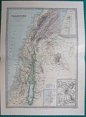 1886 Antique Map- Palestine, Ancient And Modern