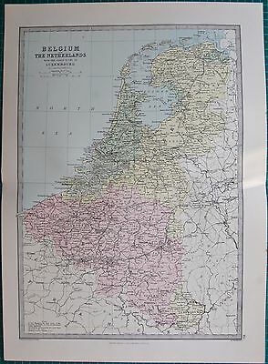 1886 Antique Map- Belgium,The Netherlands, With Luxembourg