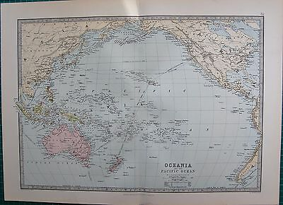 1886 Antique Map- Oceania And The Pacific Ocean
