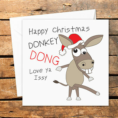 Personalised Happy Christmas Donkey Dong Willy Dick Funny Joke Adult Humour Rude