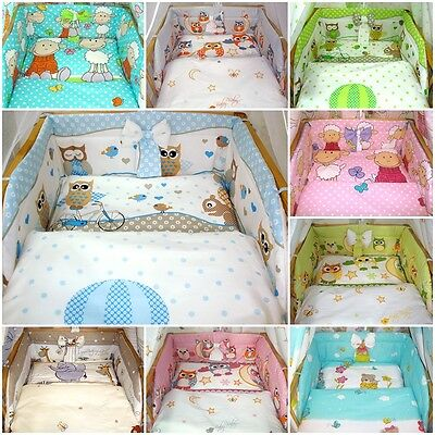5 pc 3 pcLUXURY COT / COT BED BABY BEDDING SET bumper quilt pillow 60x120 70x140
