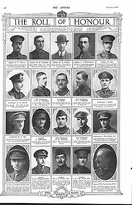 1917 Antique Print - Ww1- Roll Of Honour #1