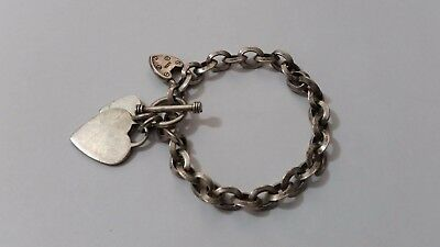Sterling Silver 925 Hearts Charms T-Bar Bracelet 7.5""