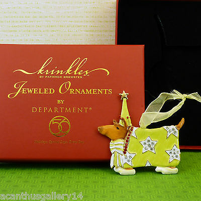 Krinkles DOG TERRIER JEWELED ORNAMENT Patience Brewster Dept 56 Xmas NIB