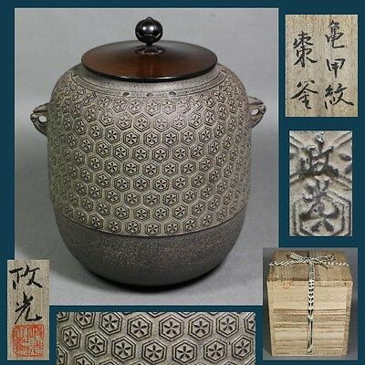 TOP quality GEM Tea Ceremony CHAGAMA ANTIQUE Japanese iron kettle JAPAN a258