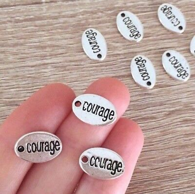 10/20/35 Antique Silver Courage Word Charms Disc Engraved Jewelry 15x10mm