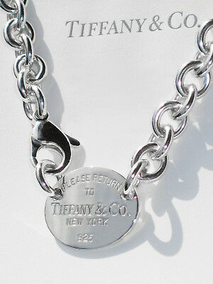 Tiffany & Co Return to Tiffany Sterling Silver Oval Tag Choker Necklace