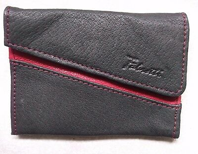 VINTAGE FABRETTI PURSE WALLET RED BLACK REAL LEATHER 1980s 1990s UNUSED