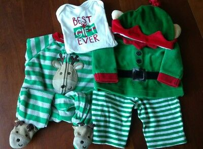 Baby Christmas Clothing Lot - Bodysuit, Reindeer PJs & Elf Outfit - Size 3 Mos