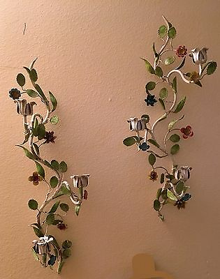 PAIR Antique Vintage Italian Painted Wrought Iron Wall Sconces Candle Holders
