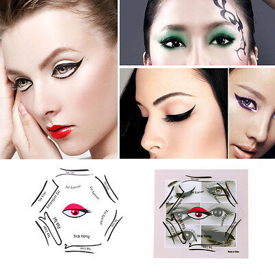6 in 1 Pro Makeup New Style Cat Eye Fish Tail Double Wing Eyeliner Stencil Eyeli