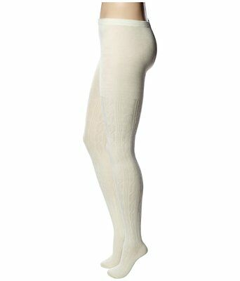 HUE Tights Sz S/M Ivory Bold Cable Control Top Sweater Fashion Tights U15525