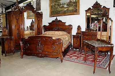 Antique Country French Louis XV Carved Dancing Walnut Six Piece Queen Bedroom