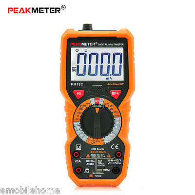 PEAKMETER PM18C Manuali Multimetro Digitale AC/DC Tensione Corrente Temperatura