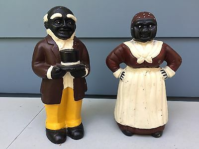 """Mammy / Aunt Jemima & Uncle Moses Cast Iron Bank, Statue, Door Stop 10 3/4"""" Tall"""