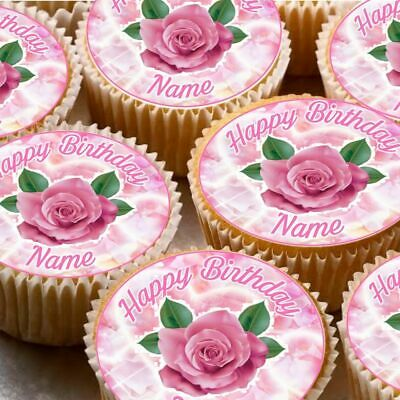 24 icing fairy cake toppers decorations edible personalised name pink Rose