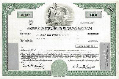 Avery Products Corporation > 1973 old stock certificate share