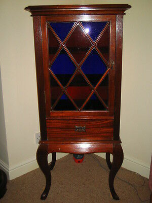 Antique Victorian Mahogany Cabinet With Stained Glass Door