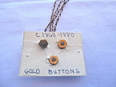 Vintage 1860-1890C, Gold Tone Buttons with Chains