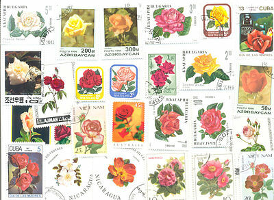 Roses on stamps collection 100 all different