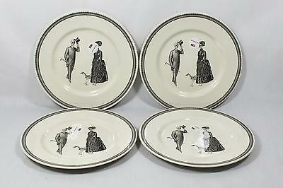 The Victorian English PotterySkeleton Lady & Gent Dinner Plates Set of Four New