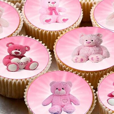 24 Edible wafer Fairy cupcake cake toppers decorations Pink Teddy bears picnic