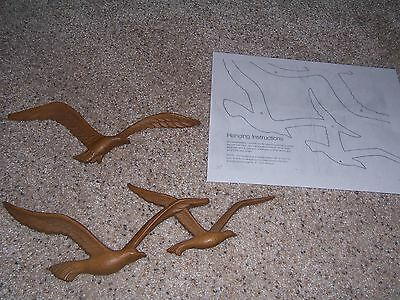 Vintage Homco Home Interiors Seagulls Birds Wall Decor Plaques Set 2 Faux Wood