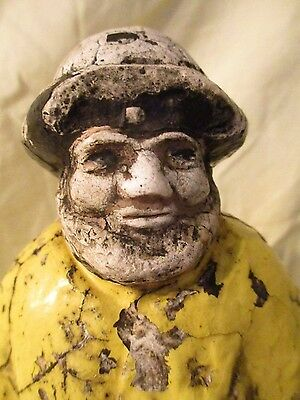 antique chalk ware fisherman with yellow rain suit nautical chalk plaster