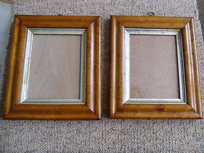 A Pair Of Antique Birds Eye Maple Portrait Picture Frames 1850-1900 Nice Example