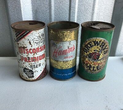 (3) Beer Cans Flat Tops Hamms, Wisconsin Premium, Drewrys Ale Rusty Vintage Lot