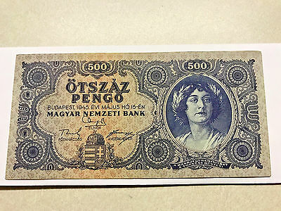 1945 Hungary 500 Pengo Error Incorrectly Spelled NЯТЬСОТ  Unc. #5339*
