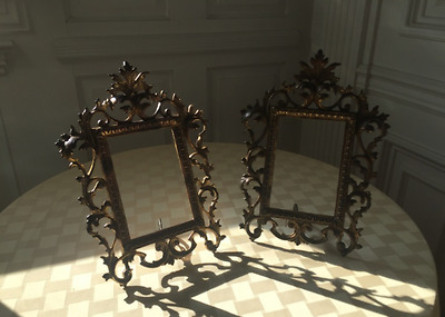 Pair of Old Ornate Cast Iron Picture Frames