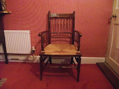 Antique Georgian Country Rush Seated Spindle Back Carver Chair