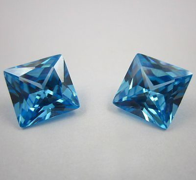 Lab Created Blue Topaz Square  6X6Mm Diamond Free & Fast Delivery
