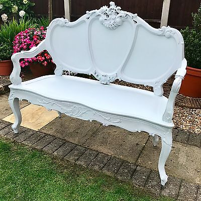 Shabby Chic Victorian Reproduction Two Seater Bench - Laura Ashley Pale Silver